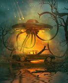 A Family With A Car Broken Down On A Secluded Forest At Night With An Attack Of An Ufo From The Sky, poster