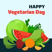 Happy Vegetarian Day Concept Background. Cartoon Illustration Of Happy Vegetarian Day Concept Backgr poster