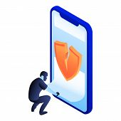 Crack Smartphone Security Icon. Isometric Of Crack Smartphone Security Icon For Web Design Isolated  poster