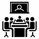 Video Conference Icon. Simple Illustration Of Video Conference Icon For Web Design Isolated On White poster