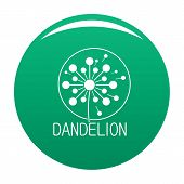 Faded Dandelion Logo Icon. Simple Illustration Of Faded Dandelion Icon For Any Design Green poster