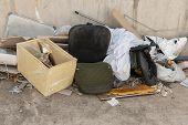 Close, Up, View, Pile, Old, Office, Furniture, Furnishings, Chairs, General, Waste, Piled, Next, Wal poster
