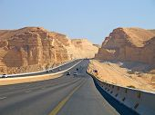 stock photo of riyadh  - Road trough the desert Riyadh - JPG