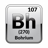 Bohrium Symbol.chemical Element Of The Periodic Table On A Glossy White Background In A Silver Frame poster