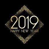 Shiny 2019 Happy New Year Card With Gold Confetti. Foil Texture Gold Glitter Confetti Sparkles Backd poster
