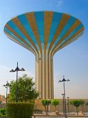 Striped water tower in Riyadh, Saudi Arabia