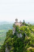 Cesta Tower On The Top Of The Ness With Panorama From Guaita Tower In San Marino poster