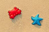 Plastic Colored Shapes For Children Play With Sand On The Beach. Baby Plastic Molds Lying In The San poster