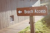 Sign Showing The Way To Beach Access. Sunflare, Taken During Golden Hour.  Filter Applied To Photo poster