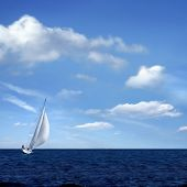 image of sail-boats  - Sailing boat on the sea and blue sky - JPG