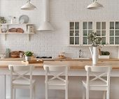 Kitchen Table With Kitchen Chairs. Kitchen Background. poster