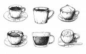 Sketch Different Mug Of Coffee On A Saucer. Vector Illustration Of A Sketch Style. poster