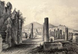 image of luigi  - Antique illustration of Pompei forum - JPG