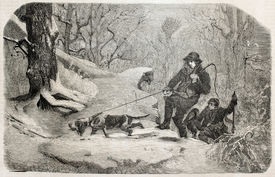 picture of bloodhound  - Old illustration of hunters following wild boar - JPG