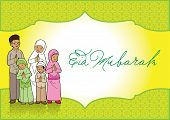 pic of fitri  - Eid Mubarak Indonesian muslim family Greeting Card - JPG