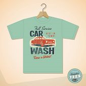 Vintage Graphic T-shirt design - Car Wash - Vector EPS10. Grunge effects can be easily removed for a