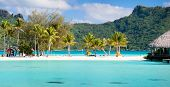 image of french polynesia  - Panorama of perfect beach with coconut palms in French Polynesia - JPG