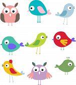 pic of guinea fowl  - vector illustration of set different cute bird cartoon - JPG