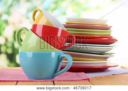 Постер, плакат: Горы красочные блюда на салфетки на фоне природы, холст на подрамнике