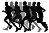 stock photo of olympiade  - Abstract vector illustration of marathon runners men - JPG