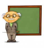 pic of academia  - funny cartoon professor standing by the blackboard against white background - JPG