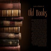 foto of leather-bound  - stack of old books - JPG