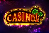 illustration of casino background with glowing palm tree