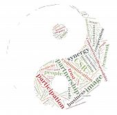 Tag or word cloud business or public relations related in shape of yinyang poster