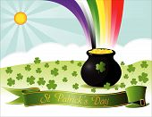 stock photo of saint patricks day  - a pot full of gold coins in a clover field with a rainbow over it - JPG