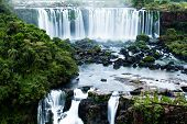 stock photo of waterfalls  - Iguassu Falls the largest series of waterfalls of the world located at the Brazilian and Argentinian border View from Brazilian side - JPG