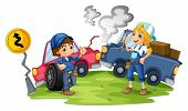 image of kinetic  - Illustration of a male and a female mechanic fixing the damaged cars on a white background - JPG