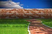 stock photo of cinder block  - concept with cinder foot path blocked by brick wall - JPG
