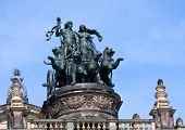 stock photo of chariot  - Statue Dionis and Ariadna chariot with four panthers on top of Dresden Opera Theatre - JPG