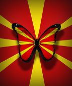 Macedonian Flag Butterfly, Isolated On Flag Background