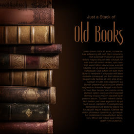 stock photo of leather-bound  - stack of old books - JPG