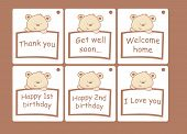 stock photo of get well soon  - 6 different cards with messages and a bear - JPG