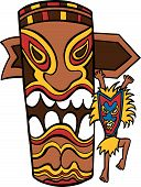 stock photo of totem pole  - Witch Doctor Tiki Idol cartoon character and totem pole isolated on white background - JPG