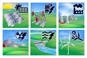stock photo of hydroelectric power  - Different types of power or energy generation with icons - JPG