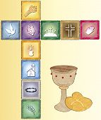 stock photo of eucharist  - a illustration of religion card with icons - JPG