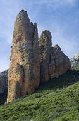rocky mountain known as Mallos, Riglos, Aragon, Spain poster