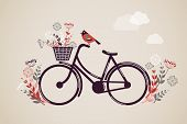 image of exercise bike  - Vintage Retro Bicycle Background with flowers and bird - JPG
