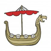 foto of viking ship  - cartoon viking ship - JPG