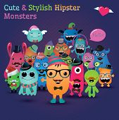 picture of freaky  - Cute and Stylish Hipster Monsters - JPG