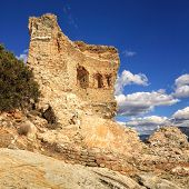 picture of martello  - The original Mortello Tower at Punta Mortella on the coast of the Desert Des Agriates near St Florent Corsica - JPG