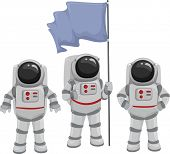 stock photo of outerspace  - Illustration of a Team of Astronauts Huddled Under a Blank Flag - JPG