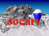 stock photo of sochi  - Sochi letters on a background of mountains - JPG