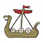 cartoon viking ship