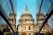 St Pauls Cathedral and reflections in day in London