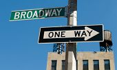 stock photo of broadway  - Famous broadway street signs in downtown New York - JPG