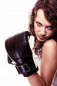 pic of martial arts girl  - Martial arts or emancipation idea concept - JPG